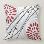 RED FLORAL DESIGN Retro Throw Pillow