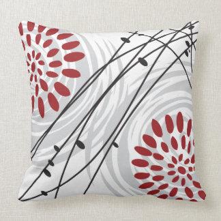 RED FLORAL DESIGN Retro Throw Pillow