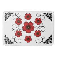 Red Floral Designed Bathroom Mat
