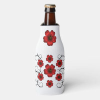 Red Floral Designed Bottle Cooler