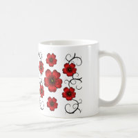 Red Floral Designed Coffee Cup Mug