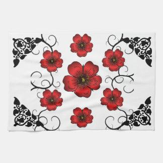 Red Floral Designed Hand Towel