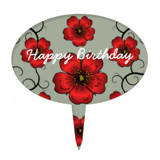 Red Floral Designed Happy Birthday Cake Pick