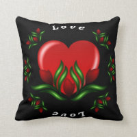 Red Floral Designed Throw Pillow