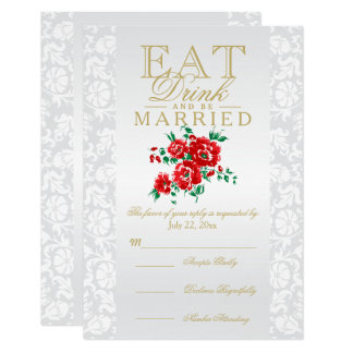 Red Floral Eat, Drink and Be Married RSVP Card