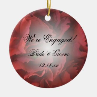 Red Floral Engagement Ornament