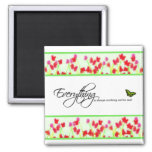 Red Floral - Everything is always working out 2 Inch Square Magnet