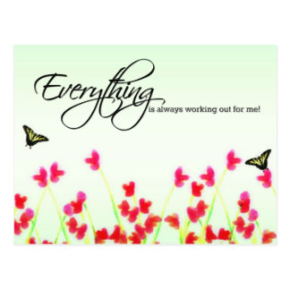 Red Floral - Everything is always working out Postcard