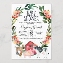 Red Floral Farm Animals Baby Shower Invitation