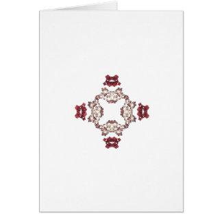 Red Floral Fractal Art Design Greeting Card
