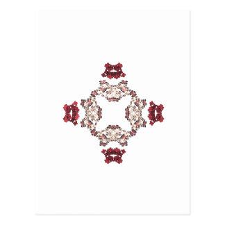 Red Floral Fractal Art Design Postcard