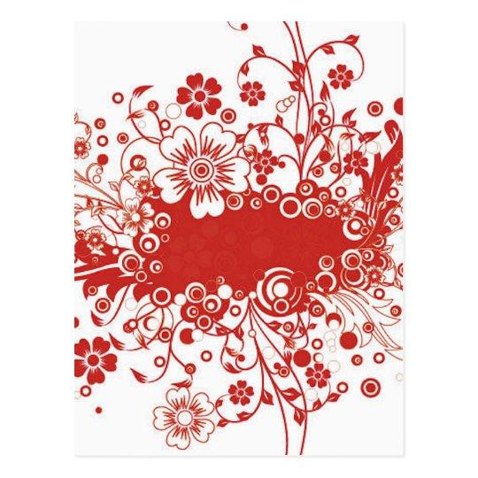 Red Floral Frame Vector Illustration Postcard