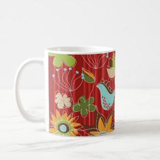 Red Floral Garden Mug