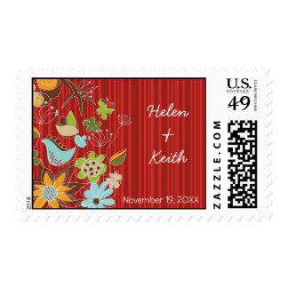 Red Floral Garden RSVP / Announcement / Invitation Postage Stamp