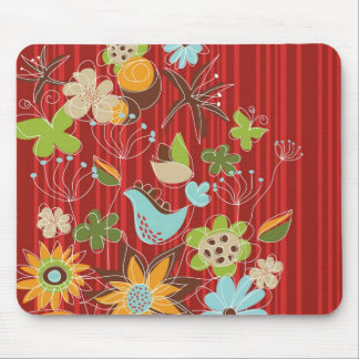 Red Floral Garden Whimsical Bird Custom Mousepad