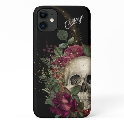 Red Floral Glitter Skull Personalized iPhone 11 Case