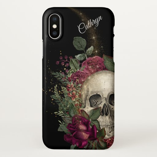 Red Floral Glitter Skull Personalized iPhone X Case