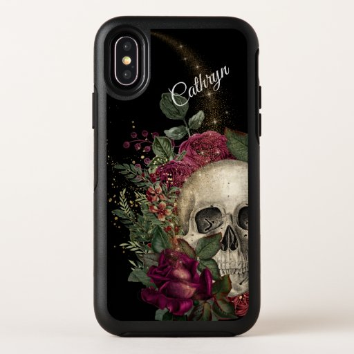 Red Floral Glitter Skull Personalized OtterBox Symmetry iPhone X Case