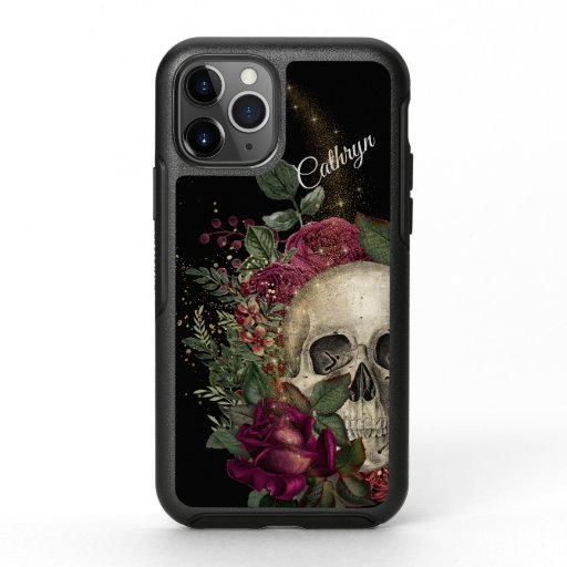 Red Floral Glitter Skull Personalized OtterBox Symmetry iPhone 11 Pro Case