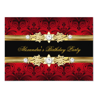 Red Floral Gold Black Women's Birthday Party 4.5x6.25 Paper Invitation Card