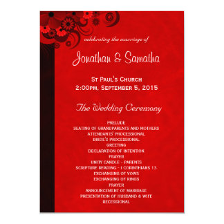 Red Floral Gothic Wedding Program Templates