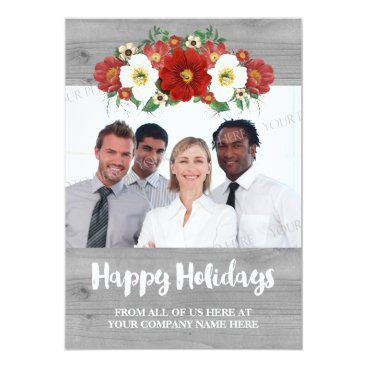Professional Business Red Floral Grey Wood Business Christmas Photo Card