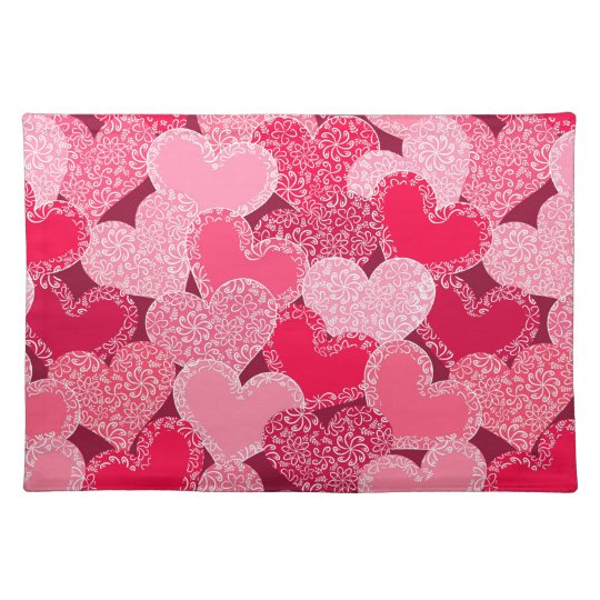 Red floral hearts pattern placemat