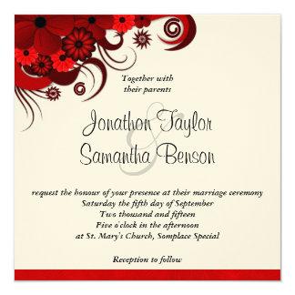 Red Floral Hibiscus Custom Wedding Invitation Announcement