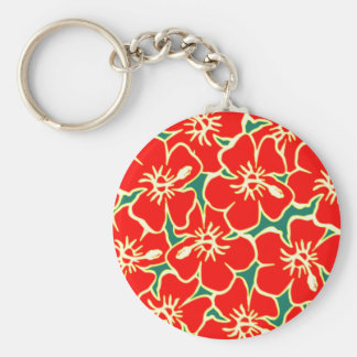 Red Floral Hibiscus Hawaiian Flowers Keychain