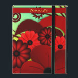 "Red Floral Hibiscus iCase Powis iPad Case Cover<br><div class=""desc"">Hibiscus: Red – HIRE100 &#169; Sunny Mars Designs. Vibrant,  feminine,  girly floral custom printed Powis iCase iPad Case Cover with gorgeous,  pretty dark crimson or maroon red hibiscus tropical design on customizable color background.  &#169; Sunny Mars Designs.</div>"