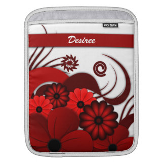 Red Floral Hibiscus Vertical iPad Sleeves Covers