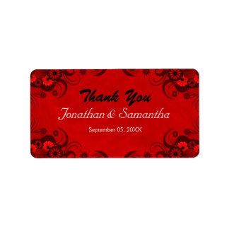 Red Floral Hibiscus Wedding Favor Favour Labels Personalized Address Label