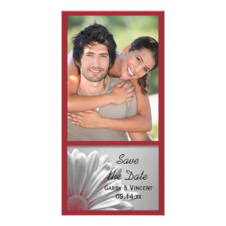 Red Floral Highlights Wedding Save the Date Card