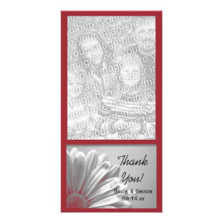 Red Floral Highlights Wedding Thank You Photo Card
