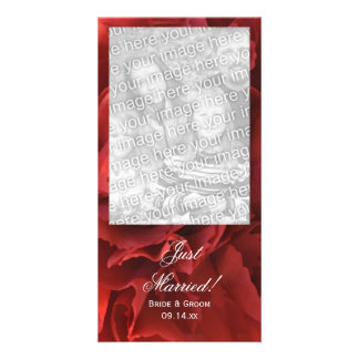 Red Floral Just Married Wedding Photo Card