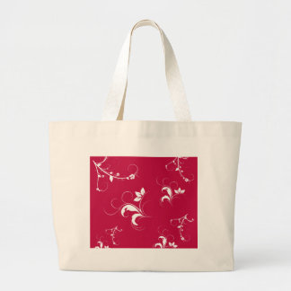 Red floral large tote bag