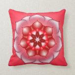 Red Floral Lotus Mandala Kaleidoscope Pillows