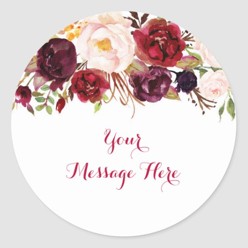 Red Floral Marsala Fall Bridal Shower Classic Round Sticker
