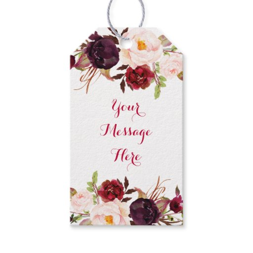 Red Floral Marsala Fall Bridal Shower Gift Tags