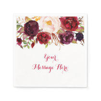 Red Floral Marsala Fall Bridal Shower Napkin