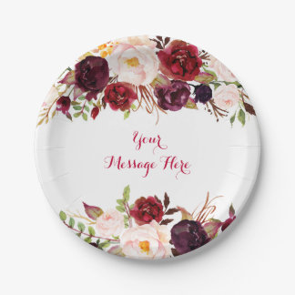 Red Fl Marsala Fall Bridal Shower Paper Plate