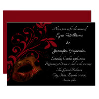 Red Floral Masquerade Wedding Invitation