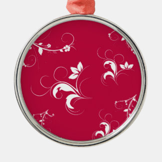 Red floral metal ornament