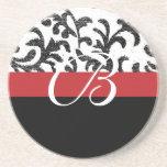 Red Floral Monogram Beverage Coaster