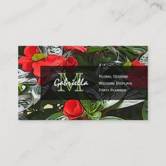 Red Floral Monogram Business Cards