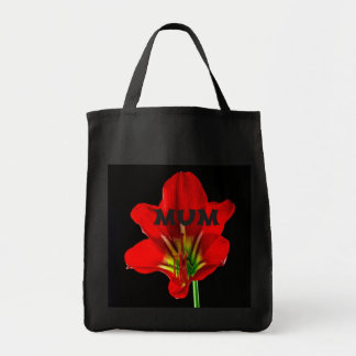 Red Floral Mum Canvas Bags