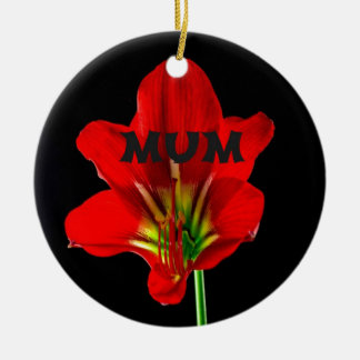 Red Floral Mum Double-Sided Ceramic Round Christmas Ornament