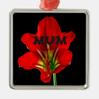 Red Floral Mum Square Metal Christmas Ornament