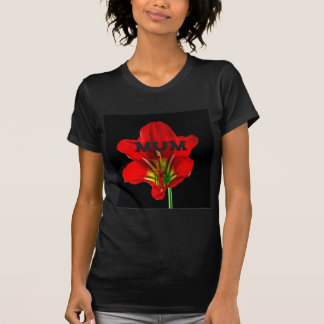 Red Floral Mum T Shirts