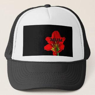 Red Floral Mum Trucker Hat